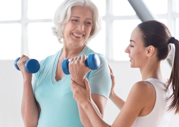 senior woman having a physical therapy